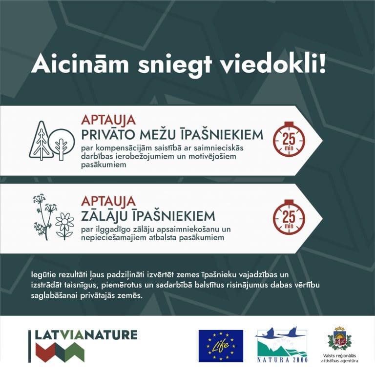 LatViaNature aptauja privāto mežu un zālāju īpašniekiem
